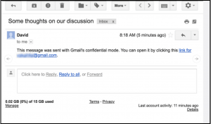 Example Gmail Confidential email message.